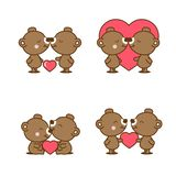 Set of cute couple bear in love with heart. royalty free illustration