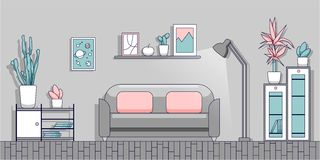 Minimalist interior of the living room in a modern flat style. royalty free illustration