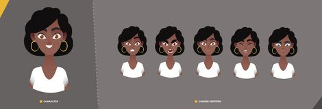 Afro american woman character set of emotions. royalty free illustration