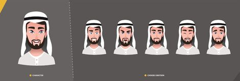 Arab Man character set of emotions stock illustration