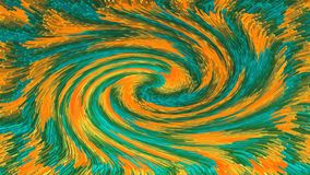 Blocks with 3d effect of green and orange colors forming an abstract swirl. Illustrations stock illustration