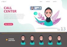 Call center concept. Cartoon character arab woman royalty free illustration