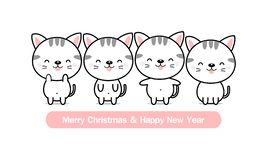Merry Christmas and happy New Year greeting card. Cute cat family. vector illustration