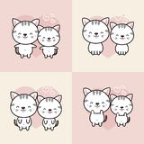 Collection of cute couple cartoon cats fall in love.Vector illustration. vector illustration