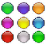 Web. Glossy web round buttons in different colors Royalty Free Stock Photos