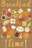 Vector breakfast concept set with food and drinks with flat icons in composition. Breakfast composition sandwich and omelette, juc stock illustration