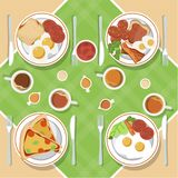 Vector breakfast concept set with food and drinks with flat icons in composition. Breakfast composition sandwich and omelette, juc royalty free illustration