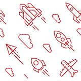 Rockets pattern. Flat line doodle style objects for packaging or other purposes stock illustration