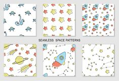 Set of seamless patterns with cartoon space scene vector illustration