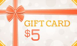 Gift Card, gift voucher - 5 dollars royalty free illustration