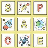 Set of card with space icon stock illustration