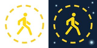 Vector road yellow sign of a pedestrian walking person in a circle on a dark and white background. vector illustration