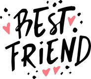 Inscription best friend with heart stock illustration
