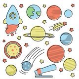 Space collection with planets royalty free illustration