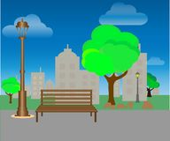 City Park with trees and benches. Green background. Vector vector illustration
