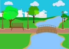 Summer, spring day vector illustration. Lake or river with lush green trees and bushes. Green hills, meadows, cityscape with skysc royalty free illustration