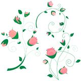 Collection of branch curly pink rose, bouquet with blue flowers forget-me-not, buds, green stems, leaves on white background, digi stock illustration