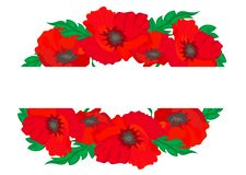 Web. Vector background banner with red poppies. vector illustration