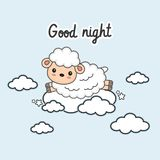 Good night card with little sheep jump on the clouds. Vector illustration stock illustration