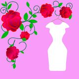 Web. wedding dress design, black and white royalty free illustration