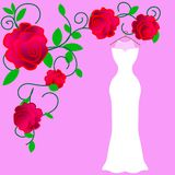 Colorful silhouette costume bride dress vector illustration royalty free illustration