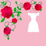 Web. Elegant wedding dresses for pretty bride. Isolated vector illustration in flat style. Classical and modern silhouette of brid vector illustration