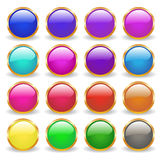 Web. Shiny buttons in golden frame in different colors Stock Photo