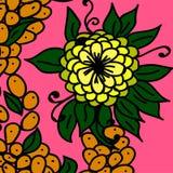 Yellow flower and orange berries vector illustration