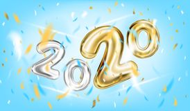 2020 New Year Poster in sky blue royalty free illustration