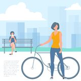Woman with bicicle. Flat design vector illustration of  young woman with bicicle and woman with smartphone on the bench. Park, urban landscape, trees. Vector vector illustration