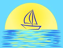 Beautiful sunset landscape with a sailboat on the background of a huge sun vector illustration