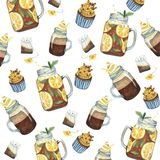 Watercolor pattern with drink and sweets vector illustration