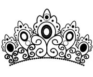 Graphic black and white crown with royal lily and diamonds vector stock illustration