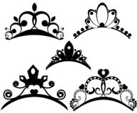 Vector tiaras set. Crown royal for queen or princess, symbol royalty illustration. Collection of vector heraldic crowns royalty free illustration