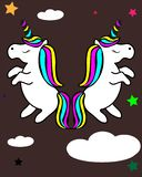 Unicorn with rainbow hair vector illustration for children design. stock illustration