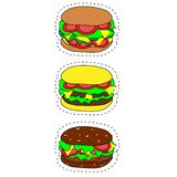 Set of vector fast food icons. Hamburger, cheeseburger, double burger, burger with lettuce, onion, tomato, cucumber and ketchup vector illustration