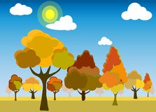 Vector of forest or park in trendy flat style in the autumn. stock illustration