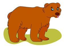 Web Icon of brown bear. Vector illustration, a large wild bear is smiling royalty free illustration