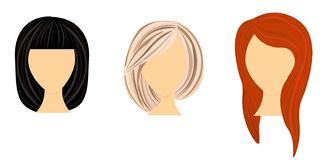 Web Vector design of beautiful collection. Vector design of beautiful collection of female hairdo stock illustration
