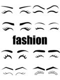 Web Different types variation of eyebrows and eyelashes models. Black line icons illustration stock illustration