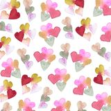 Watercolor pattern with hearts royalty free stock photo