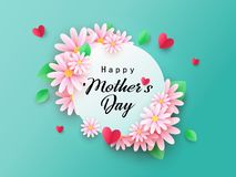 Нappy Mothers Day background with beautiful paper cut chamomile flowers. Spring holiday illustration for greeting card, banner, ad, promotion, poster, flyer stock illustration