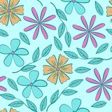 Floral pattern of abstract flat flowers on a blue background. Seamless vector pattern stock illustration