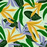 Seamless background with bright colors and tropical leaves. Vector design. Flat jungle print. Seamless background with bright colors and tropical leaves. Vector royalty free stock photo