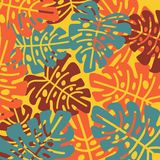 Bright tropical leaves in a simple pattern. Vector design. Abstract royalty free illustration