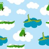 Crocodile pattern design with several alligators. Funny hand drawn doodle, seamless pattern. Lettering poster or t-shirt textile graphic design. / wallpaper royalty free illustration