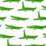 Crocodile pattern design with several alligators - funny hand drawn doodle, seamless pattern. Lettering poster or t-shirt textile graphic design. / wallpaper vector illustration
