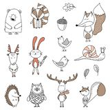 Vector hand drawn doodle character illustrations. Forest animals collection. Vector hand drawn doodle character illustrations royalty free illustration