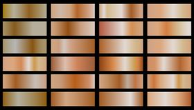 Collection of bronze gradient royalty free illustration