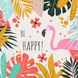 A postcard with flamingos and the words `be happy`. Vector design. vector illustration